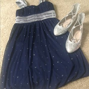 Blue and silver dress and shoe Bundle